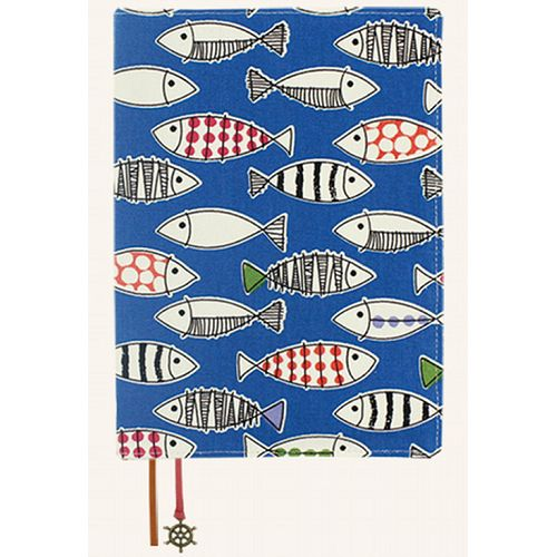 【珠友】25K可調式棉麻布書衣-A19小魚/藍