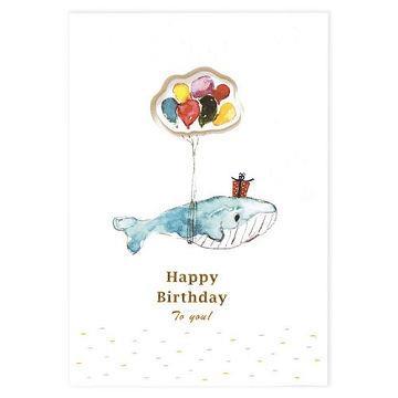 【柏格文具】開窗造型卡-鯨魚生日