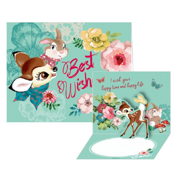 【南寶興】迪士尼立體小卡斑比-Best Wishes