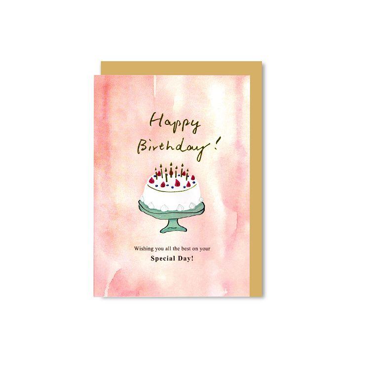 【柏格文具】渲染燙金卡蛋糕-粉紅