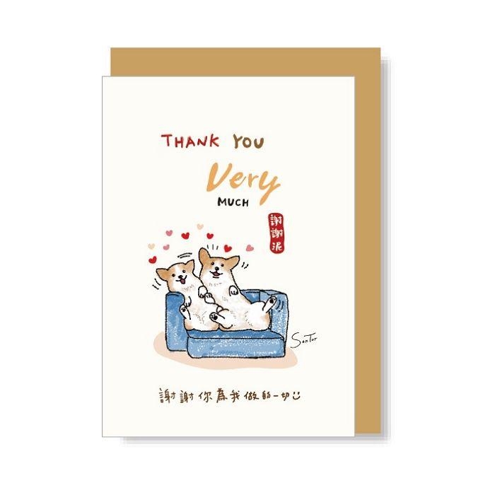 【三瑩】小柯基50K卡片-THANK YOU