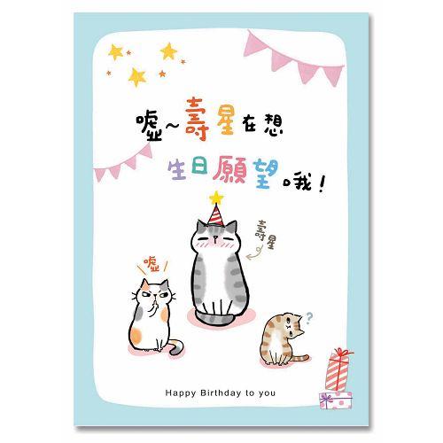 貓咪卡片-生日願望