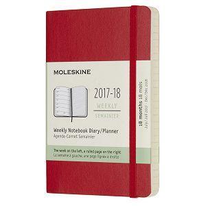 2018 Moleskine 18M週誌/軟紅(口袋型)