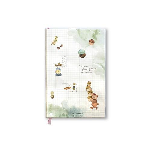【柏格文具】2019年度膠皮手冊32K-栗子熊