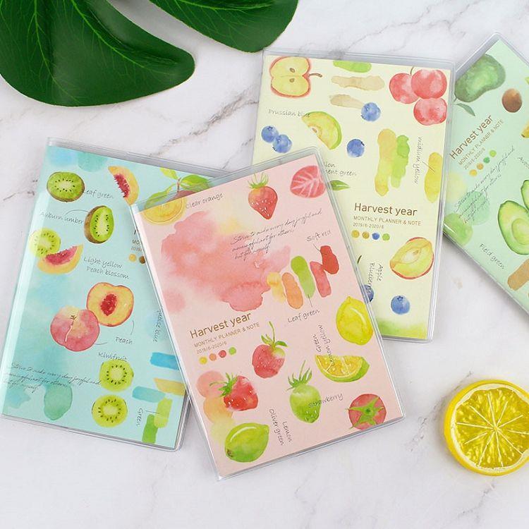 2020跨年日誌A6彩色月計劃+筆記-草莓檸檬(粉)