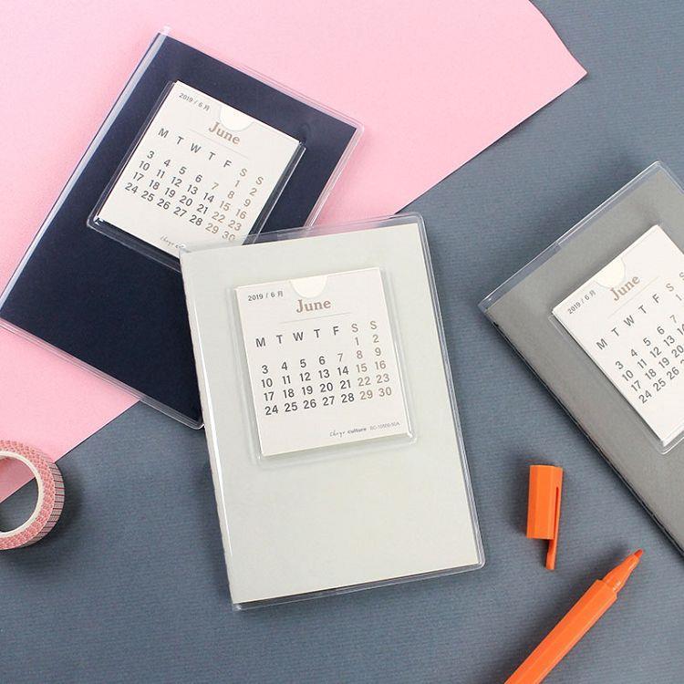 2020跨年日誌A6素面月計劃+筆記-淺灰