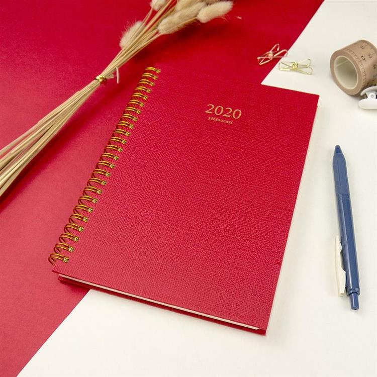 2020年25K苧麻雙線圈橫式週誌-焰紅