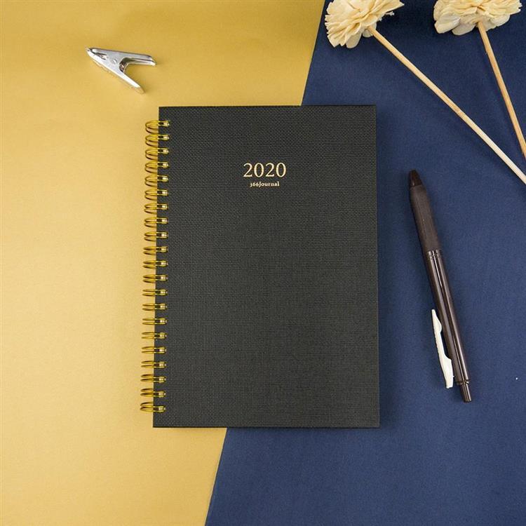 2020年32K苧麻雙線圈橫式週誌-沉黑