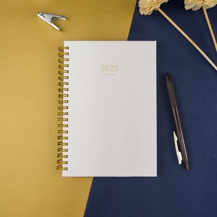 2020年32K苧麻雙線圈橫式週誌-月白
