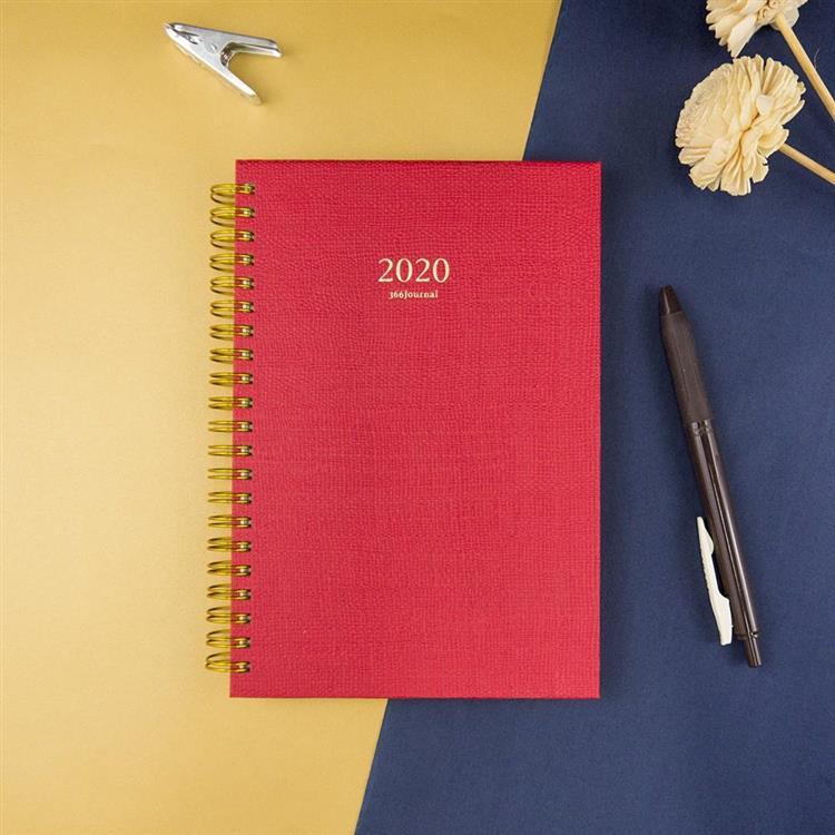 2020年32K苧麻雙線圈橫式週誌-焰紅
