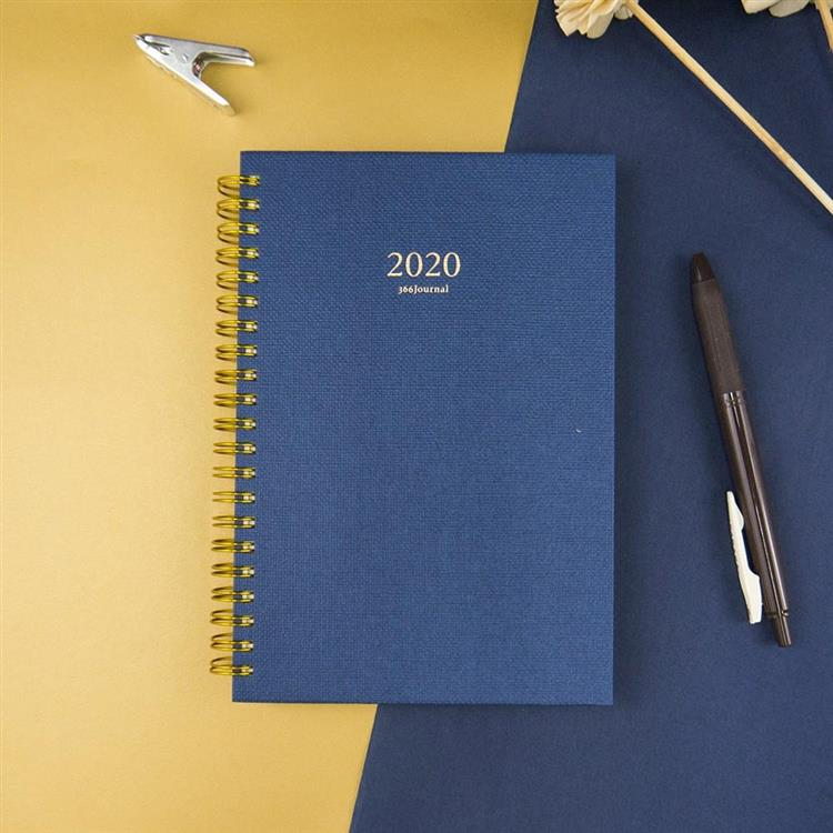 2020年32K苧麻雙線圈橫式週誌-軍藍