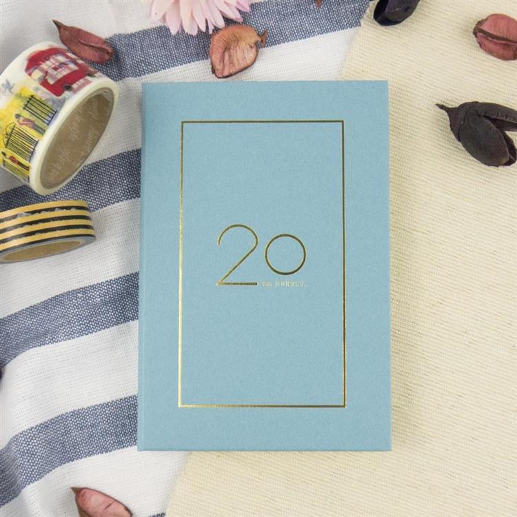 2020年25K奢樸軟背精裝橫式週誌-霧藍
