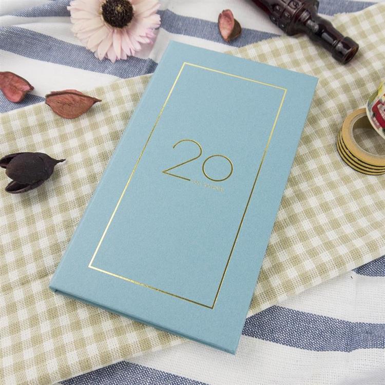 2020年40K奢樸軟背精裝橫式週誌-霧藍