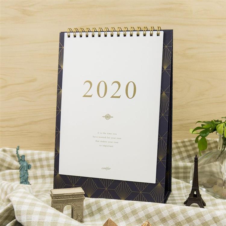 2020年32K時間絮語直式桌曆-綢帶靛藍