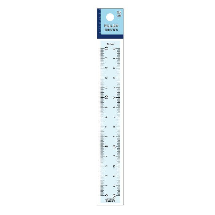 簡單生活-15cm透明定規尺-藍