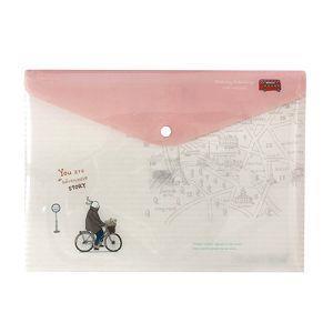 旅人-橫式PP文件袋/粉