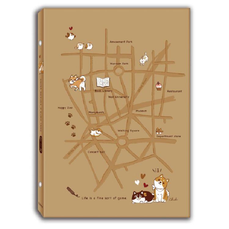 【三瑩】柴之助牛皮細版26孔資料夾地圖