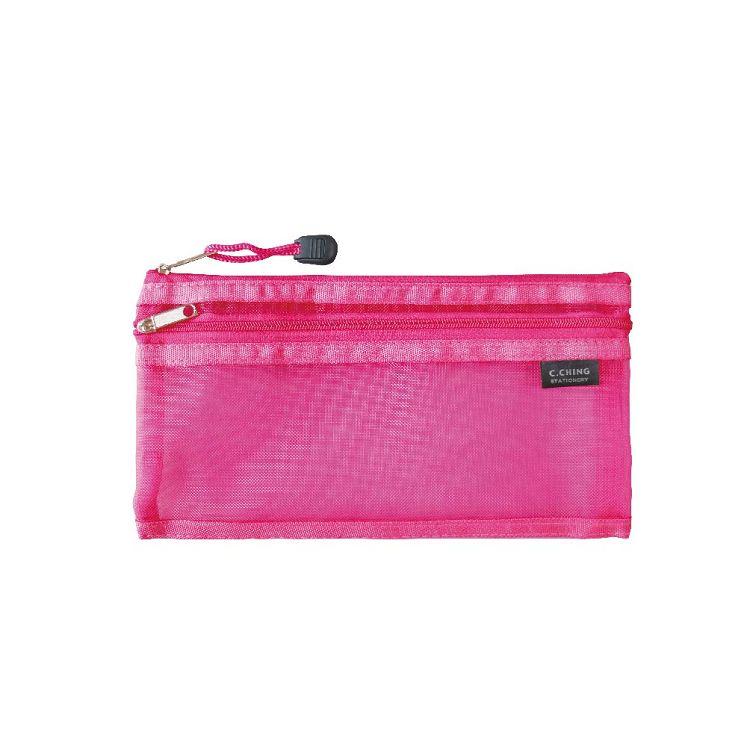 【青青】簡單生活-A6網紗雙層收納袋-粉紅