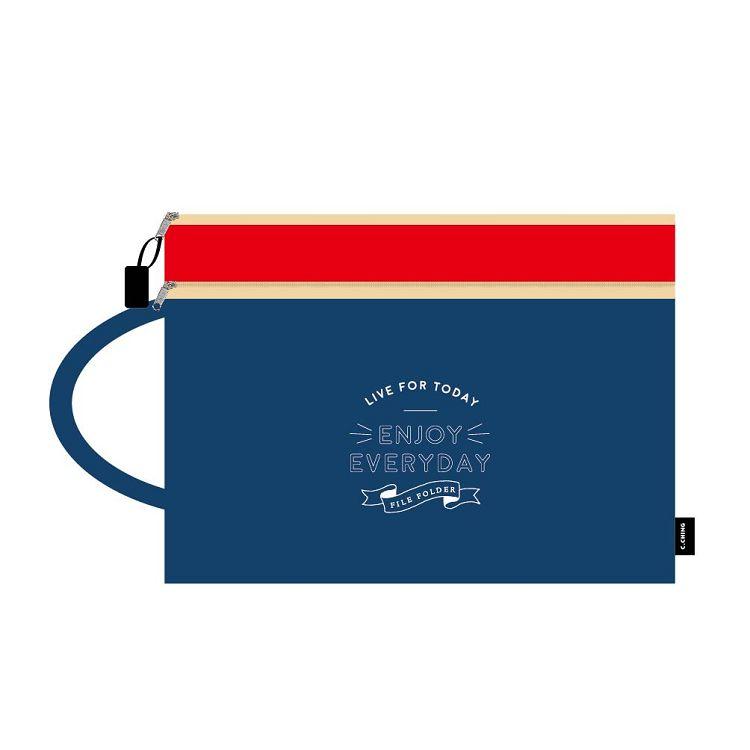 【青青】簡單生活-A4手提雙層文件袋(-深藍