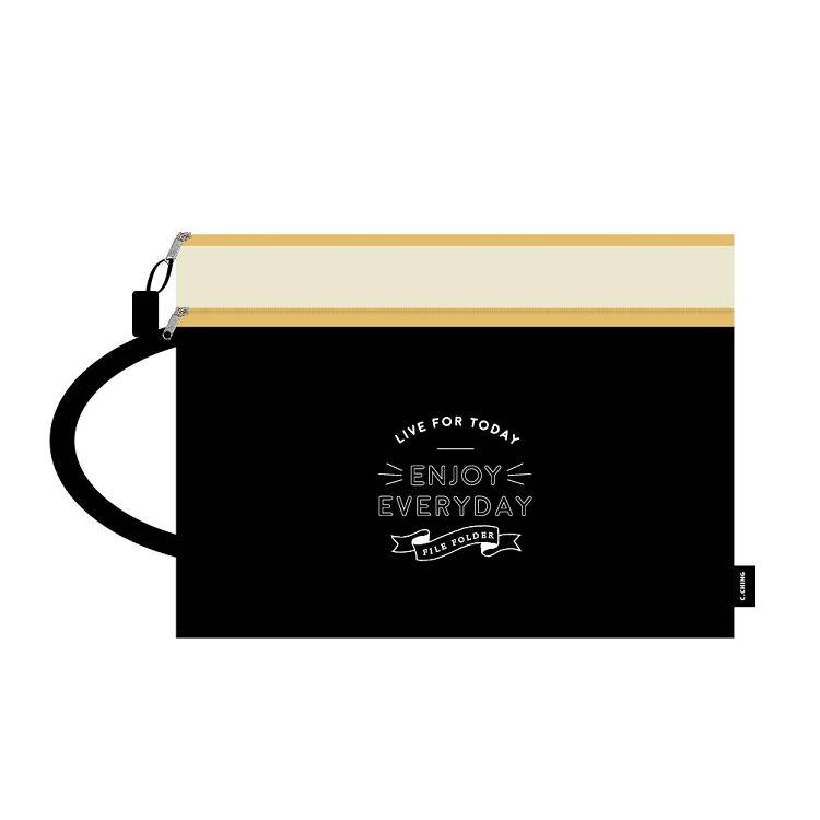 【青青】簡單生活-A4手提雙層文件袋-黑