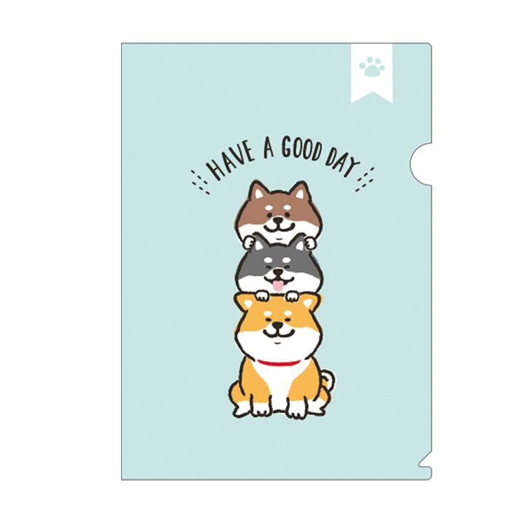 柴犬L型書夾A-藍綠