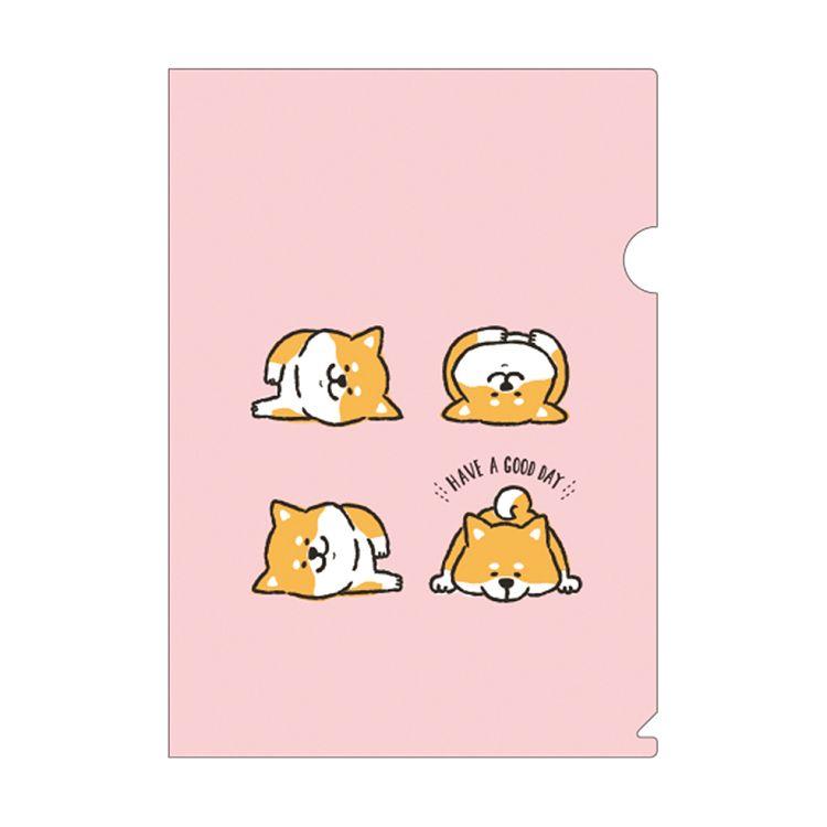 柴犬L型書夾A-粉