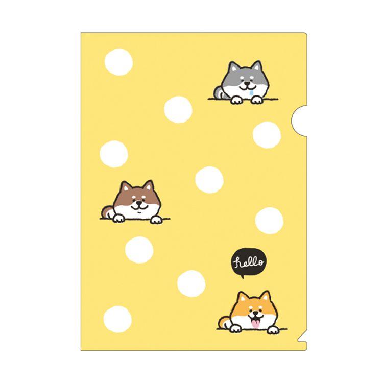 柴犬L型書夾A-黃