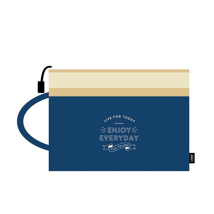 簡單生活-A4手提雙層文件袋-深藍