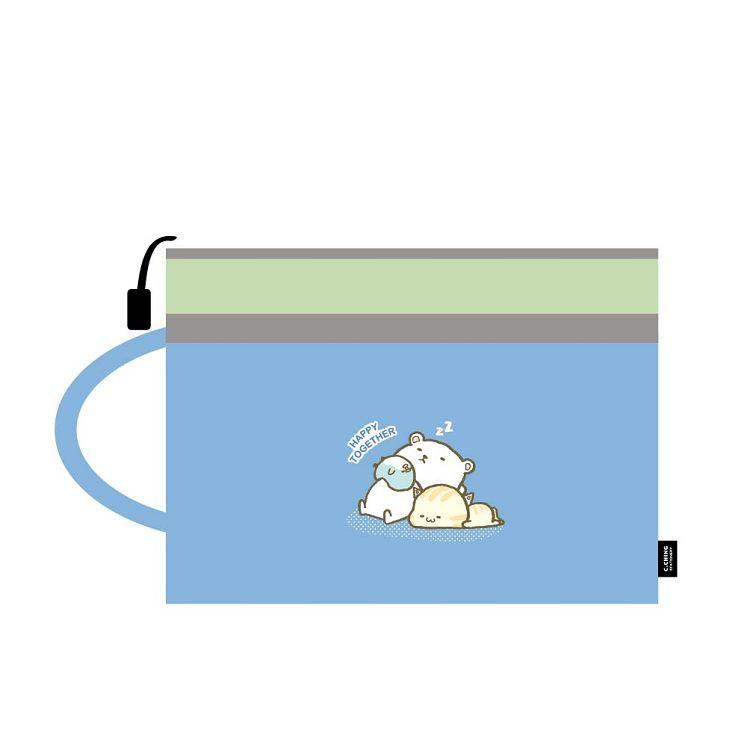 萌ZOO-A4手提雙層文件袋-萌藍