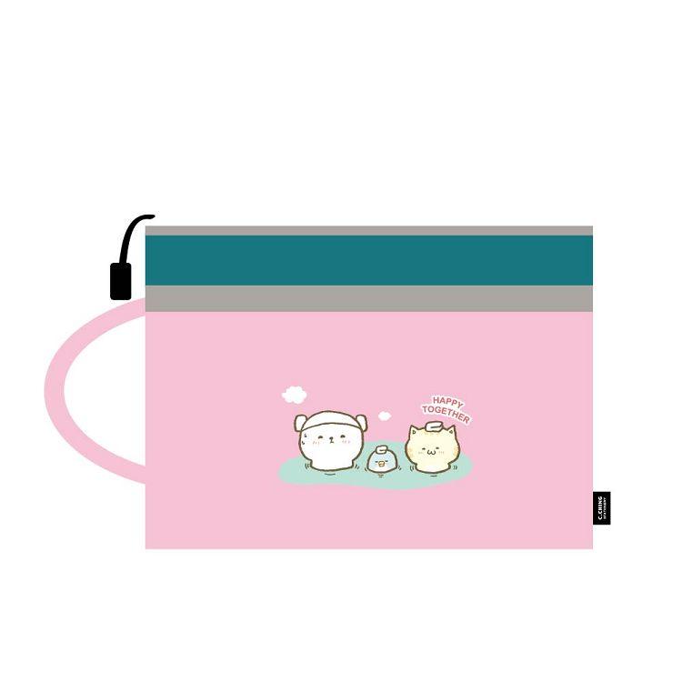 萌ZOO-A4手提雙層文件袋-萌粉