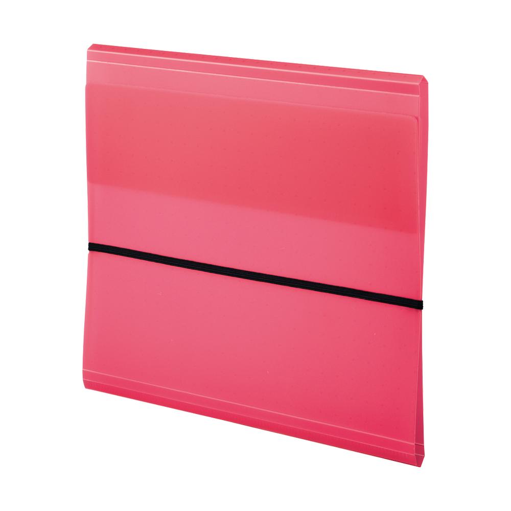 LIHIT AQUA DROPs 10格附繩帶多功能資料夾-紅 A-5056-3