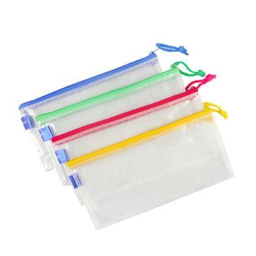 A5可掛式網狀拉鏈袋(長型)-顏色隨機出貨