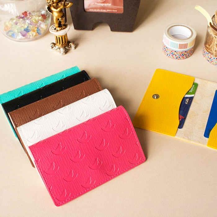 The Fashion-扣式雙折票卡夾-01-桃紅