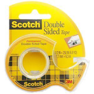 3M Scotch雙面貼膠帶1/2`x6.9Y(黃色背卡)136