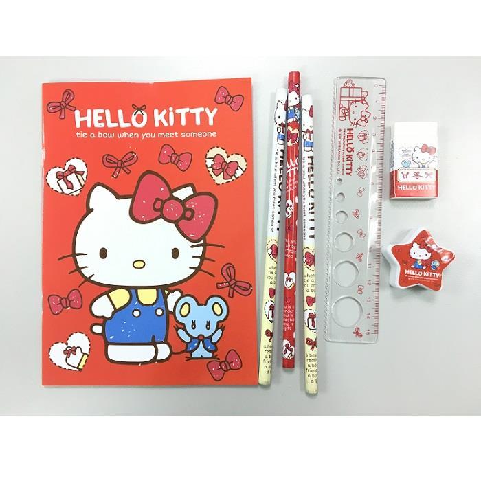 HELLO KITTY蝴蝶結 袋裝文具組