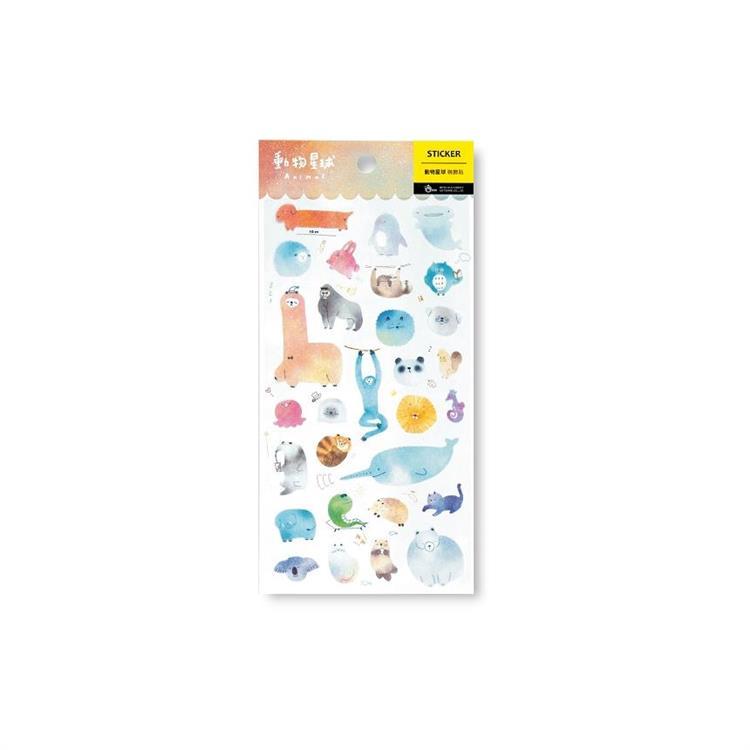 【柏格文具】和紙手帳貼-動物星球
