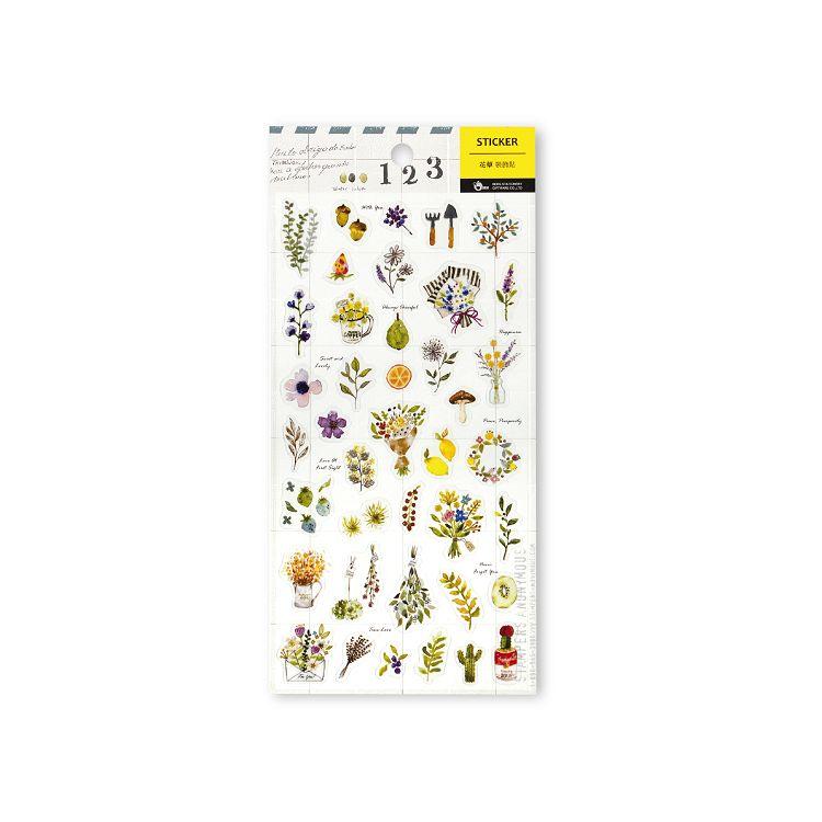 【柏格文具】透明裝飾貼-花草