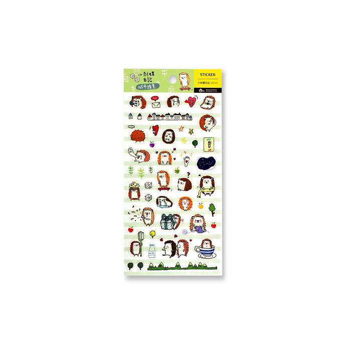 【柏格文具】小刺蝟日記手帳透明貼紙-城市綠意