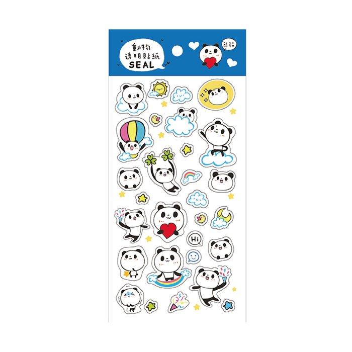 動物透明貼紙A-熊貓