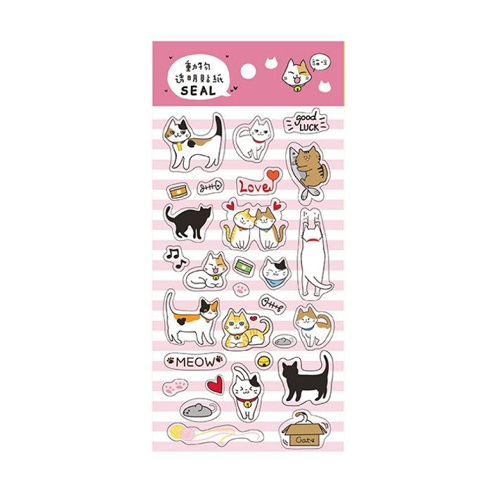 動物透明貼紙A-貓咪
