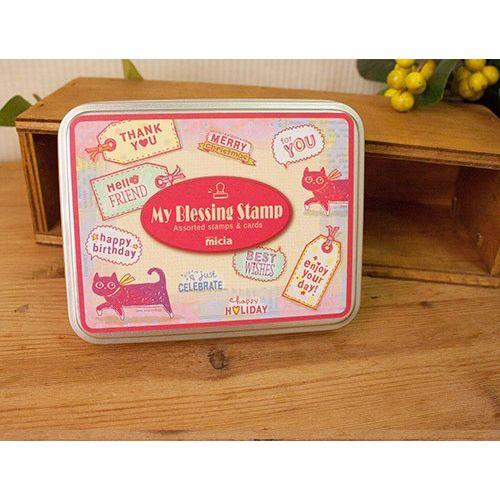 Micia/鐵盒印章組/FB-03貓咪的祝福便籤