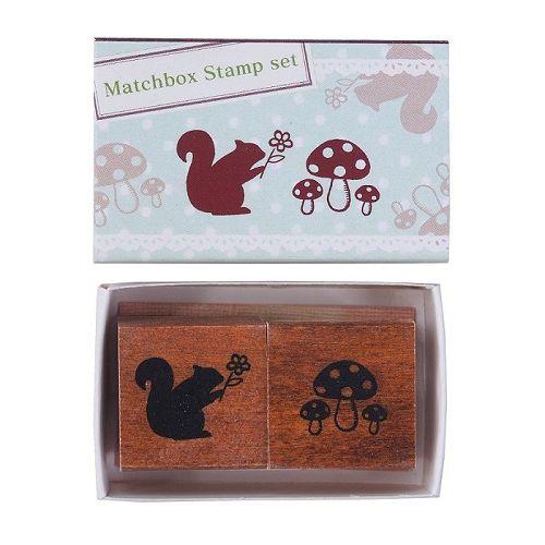 【KODOMO NO KAO】火柴盒印章組-松鼠&蘑菇