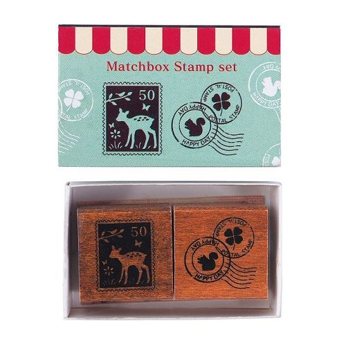 【KODOMO NO KAO】火柴盒印章組-小鹿郵票&郵戳