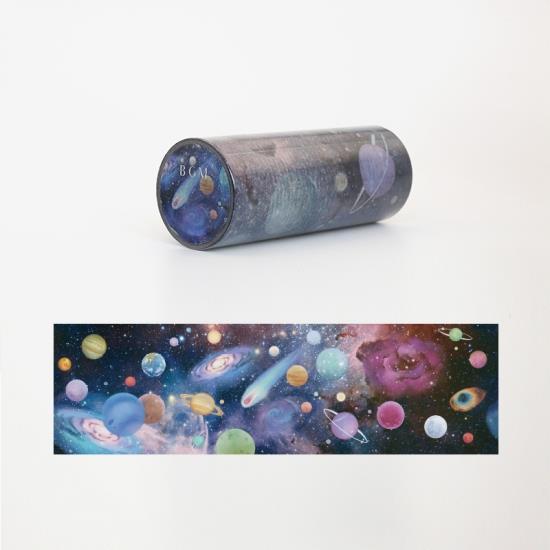 【BGM】透明水彩包裝紙膠帶10cm-宇宙