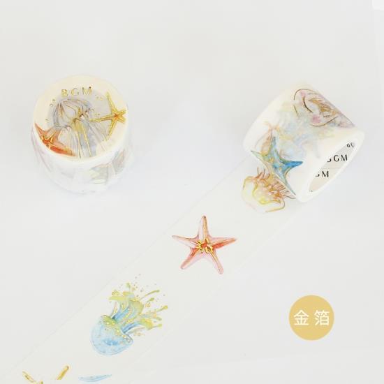 【BGM】和紙膠帶金箔寬版Life系列-水母海星