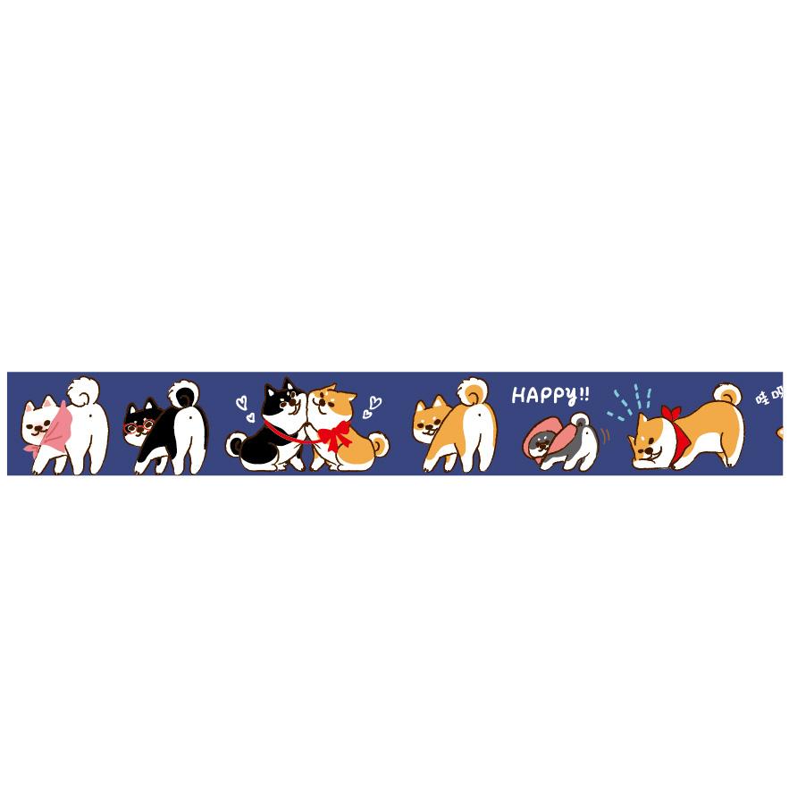 三瑩和紙15mm紙膠帶-柴犬(藍)