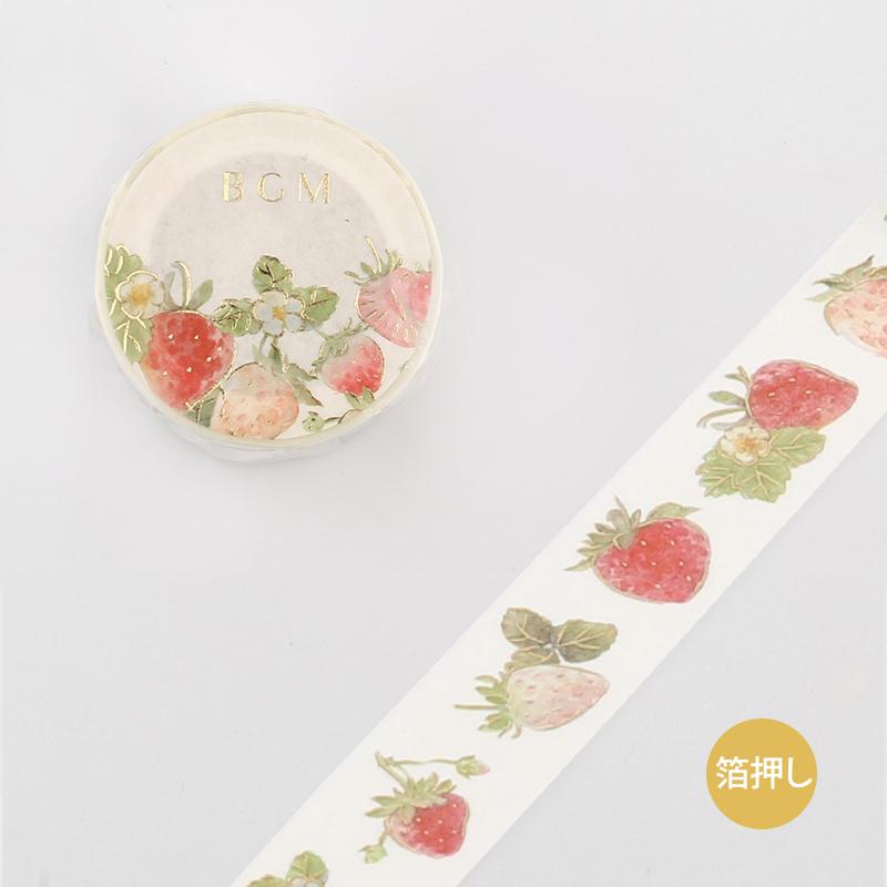【BGM】和紙膠帶金箔寬版Life系列-草莓和松樹漿果