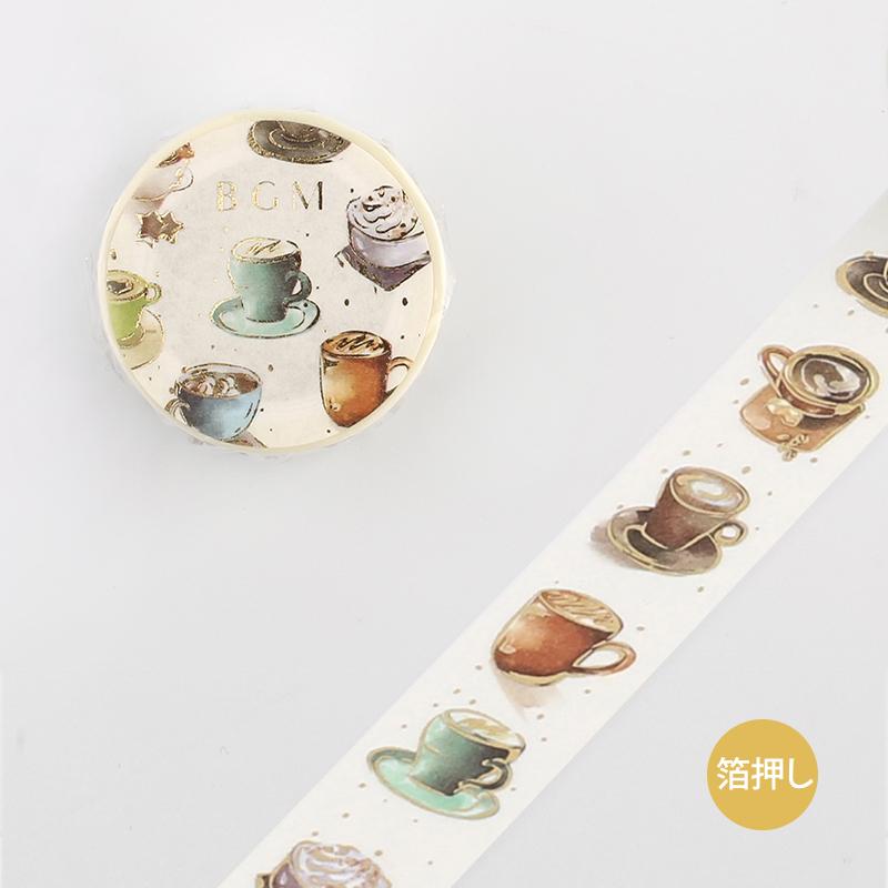 【BGM】和紙膠帶金箔寬版Life系列-熱咖啡