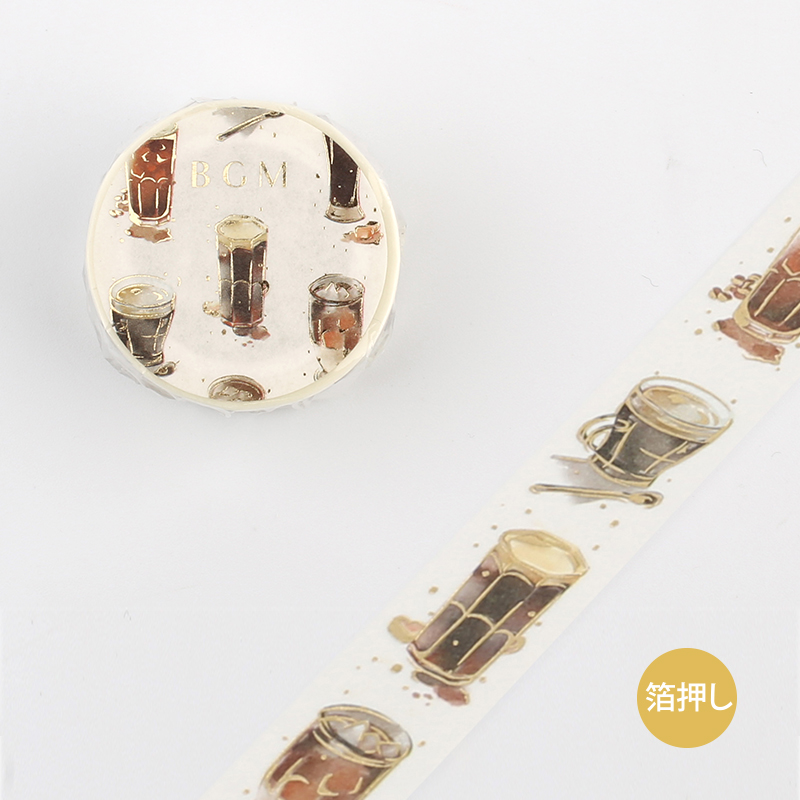 【BGM】和紙膠帶金箔寬版Life系列-冰咖啡