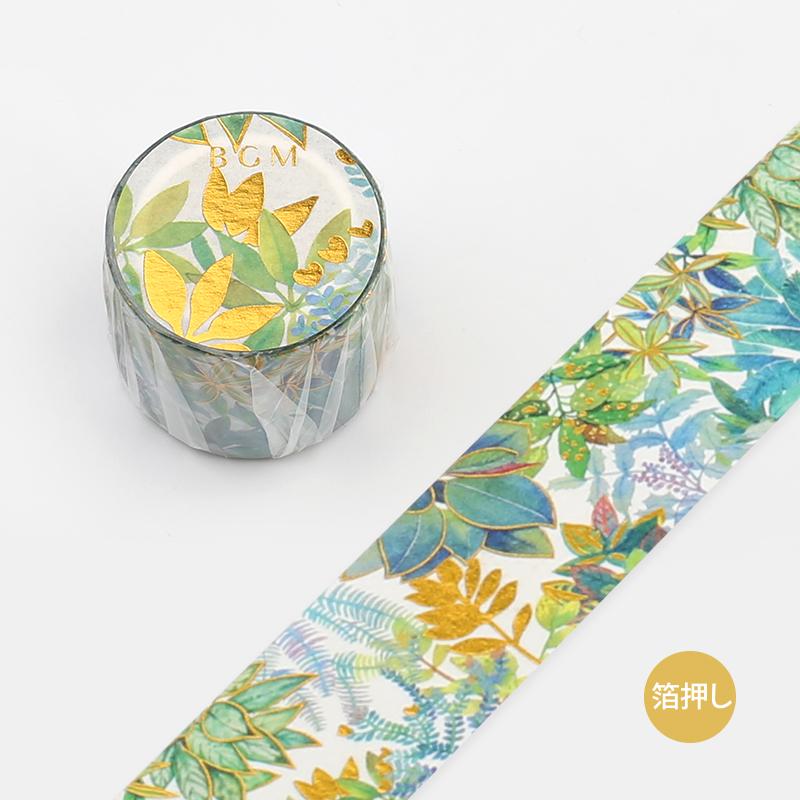 【BGM】和紙膠帶2019夏限定金箔寬版系列-熱帶雨林